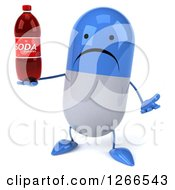Clipart Of A 3d Unhappy Blue And White Pill Character Holding A Soda Bottle Royalty Free Illustration