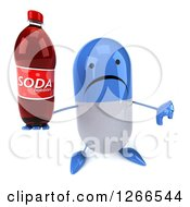 Clipart Of A 3d Unhappy Blue And White Pill Character Holding A Soda Bottle And Thumb Down Royalty Free Illustration