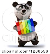 Clipart Of A 3d Bespectacled Panda Holding A Stack Of Books Royalty Free Illustration