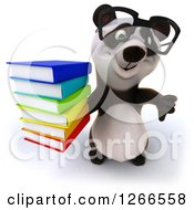 Clipart Of A 3d Bespectacled Panda Holding A Stack Of Books And Thumb Down Royalty Free Illustration