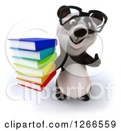 Clipart Of A 3d Bespectacled Panda Holding A Stack Of Books And Thumb Up Royalty Free Illustration