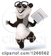 Clipart Of A 3d Bespectacled Panda Jumping And Holding A Book Royalty Free Illustration