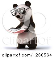 Clipart Of A 3d Bespectacled Panda Reading A Book Royalty Free Illustration