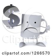 Clipart Of A 3d Unhappy Coffee Mug Holding A Dollar Symbol And Thumb Down Royalty Free Illustration
