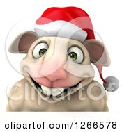 Clipart Of A 3d Christmas Sheep Smiling Over A Sign Royalty Free Illustration