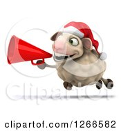 Clipart Of A 3d Christmas Sheep Running And Announcing With A Megaphone Royalty Free Illustration