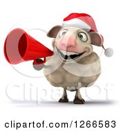 Clipart Of A 3d Christmas Sheep Announcing With A Megaphone Royalty Free Illustration