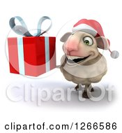 Clipart Of A 3d Christmas Sheep Holding Up A Gift Royalty Free Illustration