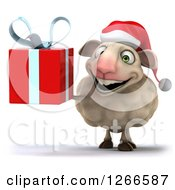 Clipart Of A 3d Christmas Sheep Holding A Gift Royalty Free Illustration by Julos