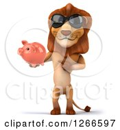 Clipart Of A 3d Male Lion Wearing Sunglasses And Holding A Piggy Bank Royalty Free Illustration