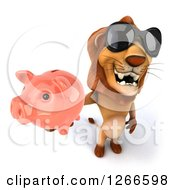 Clipart Of A 3d Male Lion Wearing Sunglasses And Holding Up A Piggy Bank Royalty Free Illustration