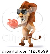 Clipart Of A 3d Male Lion Wearing Sunglasses And Walking With A Piggy Bank Royalty Free Illustration