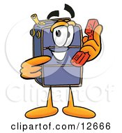 Clipart Picture Of A Suitcase Cartoon Character Holding A Telephone