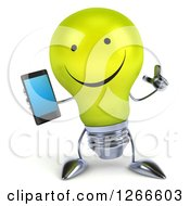 Clipart Of A 3d Happy Yellow Light Bulb Character Holding A Cell Phone Royalty Free Illustration