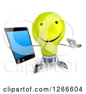 Clipart Of A 3d Happy Yellow Light Bulb Character Holding Up A Cell Phone And Gesturing Call Me Royalty Free Illustration