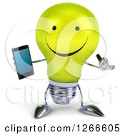 Clipart Of A 3d Happy Yellow Light Bulb Character Holding A Cell Phone And Gesturing Call Me Royalty Free Illustration