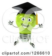 Clipart Of A 3d Jumping Green Lightbulb Character Wearing A Graduation Cap Royalty Free Illustration