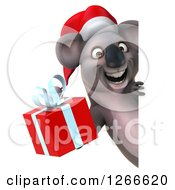 Clipart Of A 3d Christmas Koala Holding A Gift Around A Sign Royalty Free Illustration