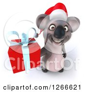 Clipart Of A 3d Christmas Koala Holding Up A Gift Royalty Free Illustration