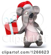Clipart Of A 3d Christmas Koala Walking And Holding A Gift Royalty Free Illustration