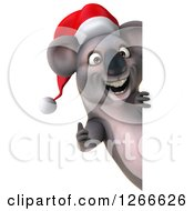 Clipart Of A 3d Christmas Koala Holding A Thumb Up Around A Sign Royalty Free Illustration