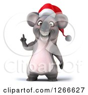 Clipart Of A 3d Christmas Koala With An Idea Royalty Free Illustration