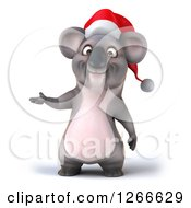 Clipart Of A 3d Christmas Koala Presenting Royalty Free Illustration