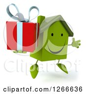 Clipart Of A 3d Happy Green House Character Jumping And Holding A Gift Royalty Free Illustration