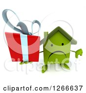 Clipart Of A 3d Unhappy Green House Character Holding A Gift And Thumb Down Royalty Free Illustration