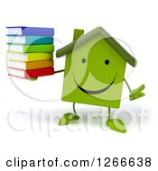3d Happy Green House Character Holding A Stack Of Books