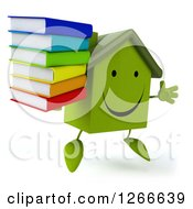 3d Happy Green House Character Jumping And Holding A Stack Of Books