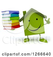 3d Happy Green House Character With An Idea Holding A Stack Of Books