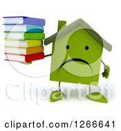 3d Unhappy Green House Character Holding A Stack Of Books