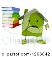 3d Unhappy Green House Character Holding A Stack Of Books And Thumb Down