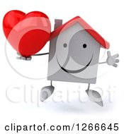 Clipart Of A 3d Happy White House Character Jumping And Holding A Heart Royalty Free Illustration by Julos