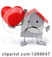 Clipart Of A 3d Unhappy White House Character Holding A Heart And Thumb Down Royalty Free Illustration by Julos