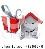 Clipart Of A 3d Happy White House Character Holding Up A Gift Royalty Free Illustration