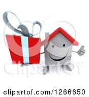 Clipart Of A 3d Happy White House Character Holding A Gift And Thumb Up Royalty Free Illustration