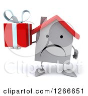 Clipart Of A 3d Unhappy White House Character Holding A Gift Royalty Free Illustration