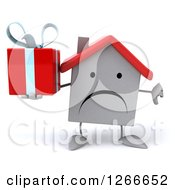 Clipart Of A 3d Unhappy White House Character Holding A Gift And Thumb Down Royalty Free Illustration