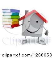 Clipart Of A 3d Happy White House Character Holding A Stack Of Books Royalty Free Illustration by Julos