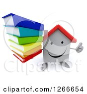 Clipart Of A 3d Happy White House Character Holding A Stack Of Books And A Thumb Up Royalty Free Illustration by Julos