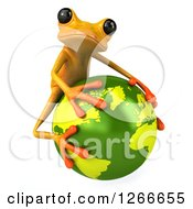 3d Yellow Frog Hugging Planet Earth