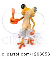3d Yellow Frog Reading A Book And Holding A Thumb Up