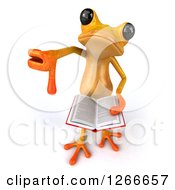 3d Yellow Frog Reading A Book And Holding A Thumb Down