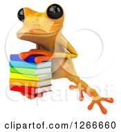 3d Yellow Frog Leaping With A Stack Of Books