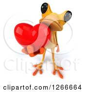 3d Yellow Frog Holding Up A Heart