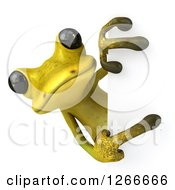 Clipart Of A 3d Light Green Frog Pointing Around A Sign Royalty Free Illustration