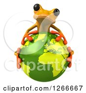 Clipart Of A 3d Yellow Frog Hugging Planet Earth Royalty Free Illustration