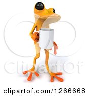 Clipart Of A 3d Yellow Frog Walking With A Coffee Cup Royalty Free Illustration